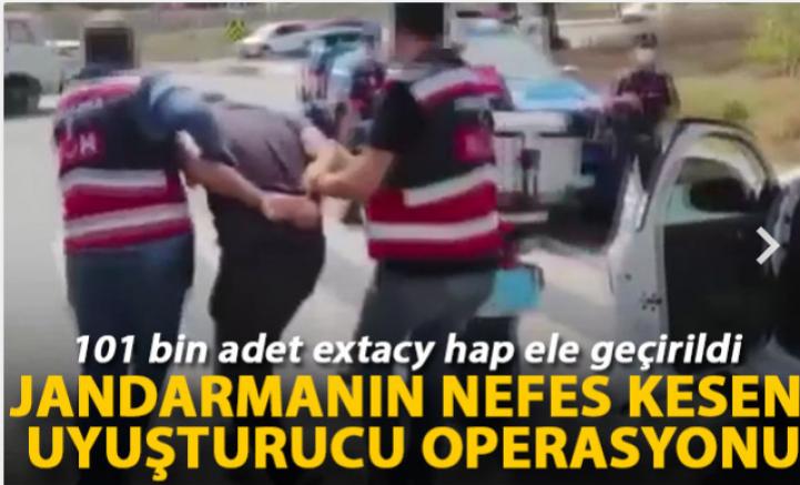 Jandarmanın nefes kesen uyuşturucu operasyonu kamerada: 101 bin adet extacy hap ele geçirildi