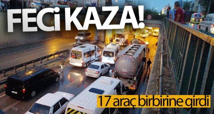 SON DAKİKA Kayganlaşan yolda 17 araç birbirine girdi: 4 yaralı